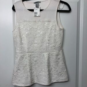 Brand new H&M white lace peplum top
